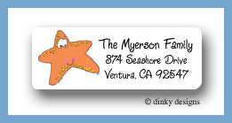 Selma the starfish return address labels personalized