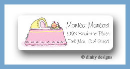 Girl in bassinet return address labels personalized
