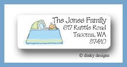 Boy in bassinet return address labels personalized