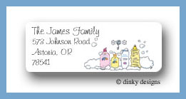 Baby bath return address labels personalized