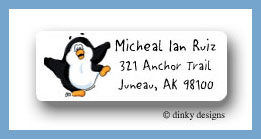 Poppy the penguin return address labels personalized