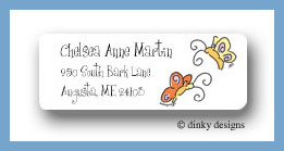 Teenie butterflies return address labels personalized