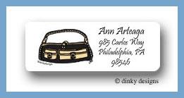 Black & tan pocketbook return address labels personalized