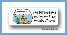 Finnian the goldfish return address labels personalized