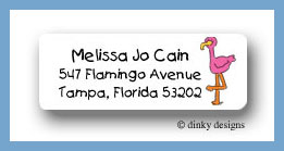 Sylvester the flamingo return address labels personalized