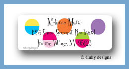Hot dots white return address labels personalized