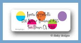 Hot dots black return address labels personalized