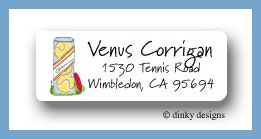 Can of tennis balls return address labels personalized