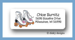 Roller girl return address labels personalized