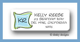 Blue green monogram return address labels personalized