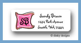 Chocolate pink taffy monogram return address labels personalized