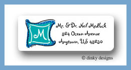 Aquamarine monogram return address labels personalized
