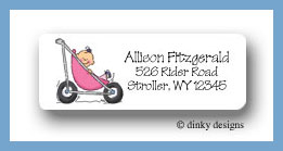 Stroller rides - girl return address labels
