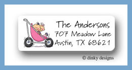 Stroller rides - girl/girl return address labels personalized