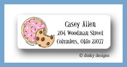 Cookies, sprinkle & chip return address labels personalized