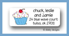 Cupcake treat return address labels personalized