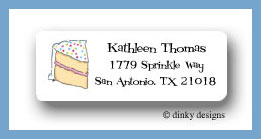 Piece o' cake return address labels personalized