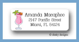 Paradise pink drink return address labels personalized