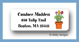 Potted tulips return address labels personalized