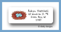 Robin's nest return address labels personalized