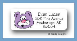 Barney bear return address labels personalized