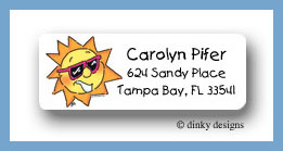 Beamin' summer sun return address labels personalized