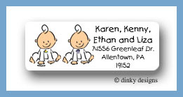 Baby steps - twins return address labels personalized