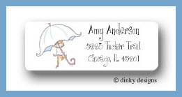 Umbrella bride return address labels personalized