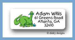 Green dinosaur return address labels, personalized