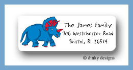 Blue dinosaur return address labels personalized