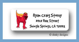 Red dinosaur return address labels personalized