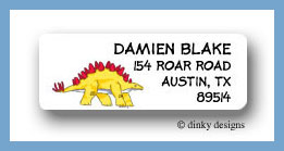 Yellow dinosaur return address labels personalized