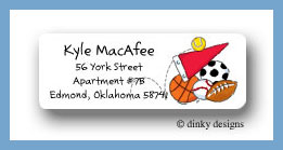 Sports fanatic return address labels personalized