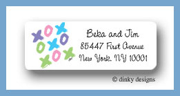 Tic-tac-toe return address labels personalized