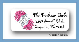 Pom poms return address labels personalized