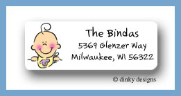 Girl baby bib face return address labels personalized