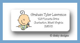 Boy baby bib face return address labels personalized