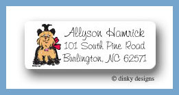 Sassy the Yorkie return address labels personalized