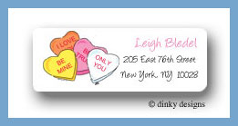 Conversation hearts return address labels personalized