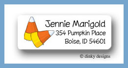 Candy corns return address labels personalized