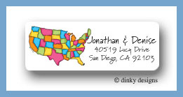 USA return address labels personalized