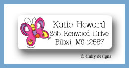 Pansy the flutterby return address labels personalized