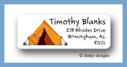 Pitch a tent return address labels personalized