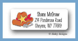 Cowboy hat with spur return address labels personalized