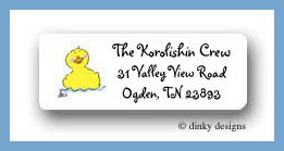 Rubber ducker return address labels personalized