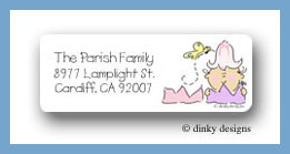 Gingham tulip with baby return address labels personalized