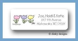 Gingham tulip trio return address labels personalized