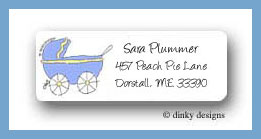 First comes love blue bassinett return address labels personalized