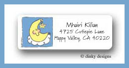Baby blocks moon and star return address labels personalized