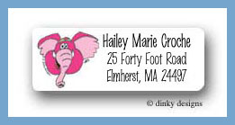 Zebra & pals pink elephant return address labels personalized